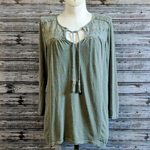 Lucky Brand | Green Tie-Neck Embroidered Top | S